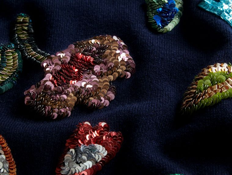 Navy Cashmere Sweater with Hand-embroidered Sequin Flowers - cell image 1