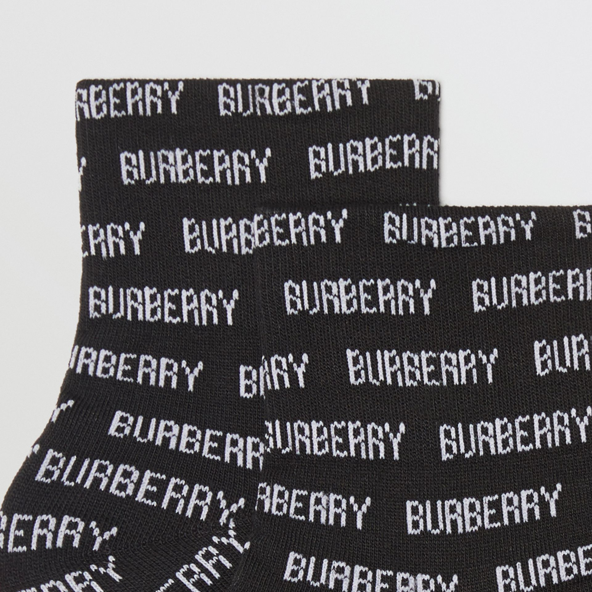 Logo Intarsia Cotton Blend Ankle Socks in Black/white | Burberry - gallery image 1