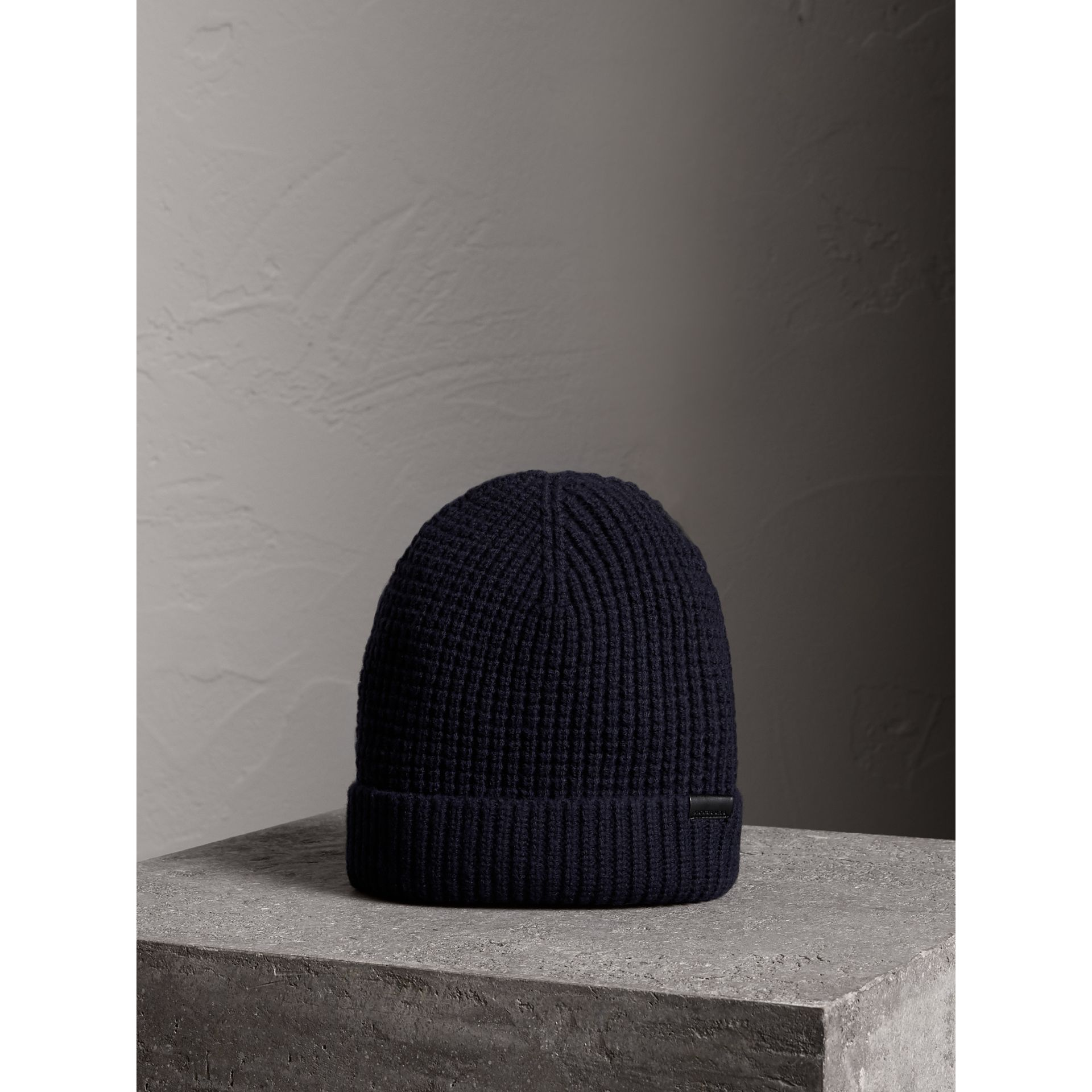 Cashmere Blend Waffle Knit Beanie in Dark Navy | Burberry - gallery image 1