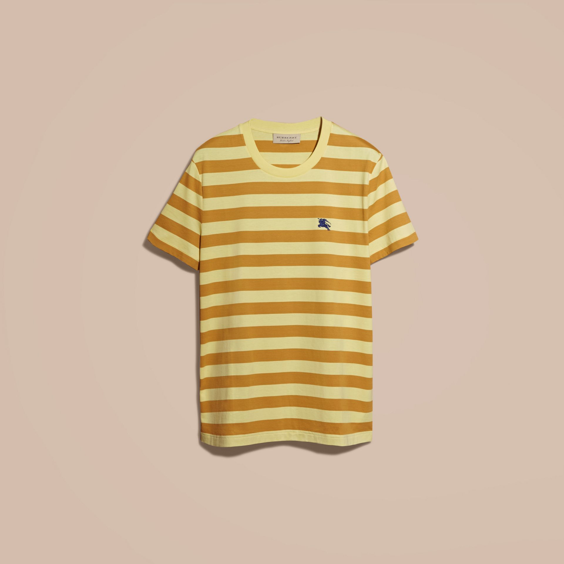 Striped Cotton T-Shirt in Pale Yellow/ochre Yellow - gallery image 4