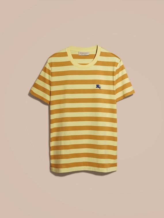Striped Cotton T-Shirt in Pale Yellow/ochre Yellow - cell image 3