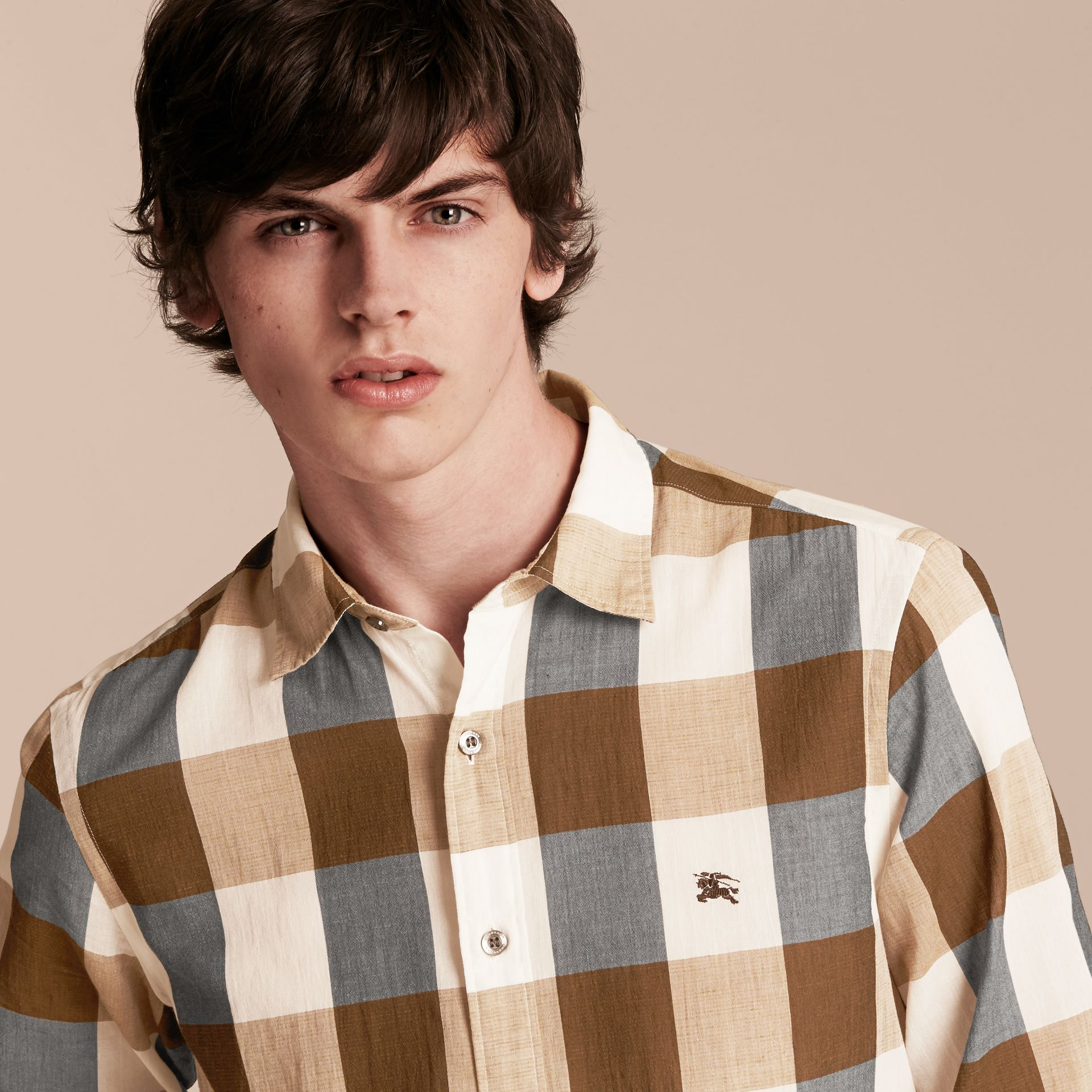 Oversize Gingham Cotton Linen Shirt Camel - gallery image 5