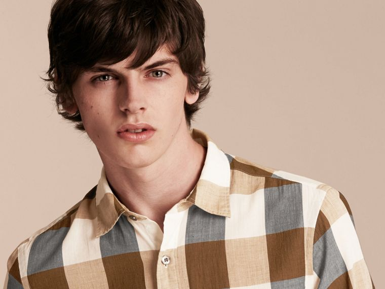 Oversize Gingham Cotton Linen Shirt Camel - cell image 4