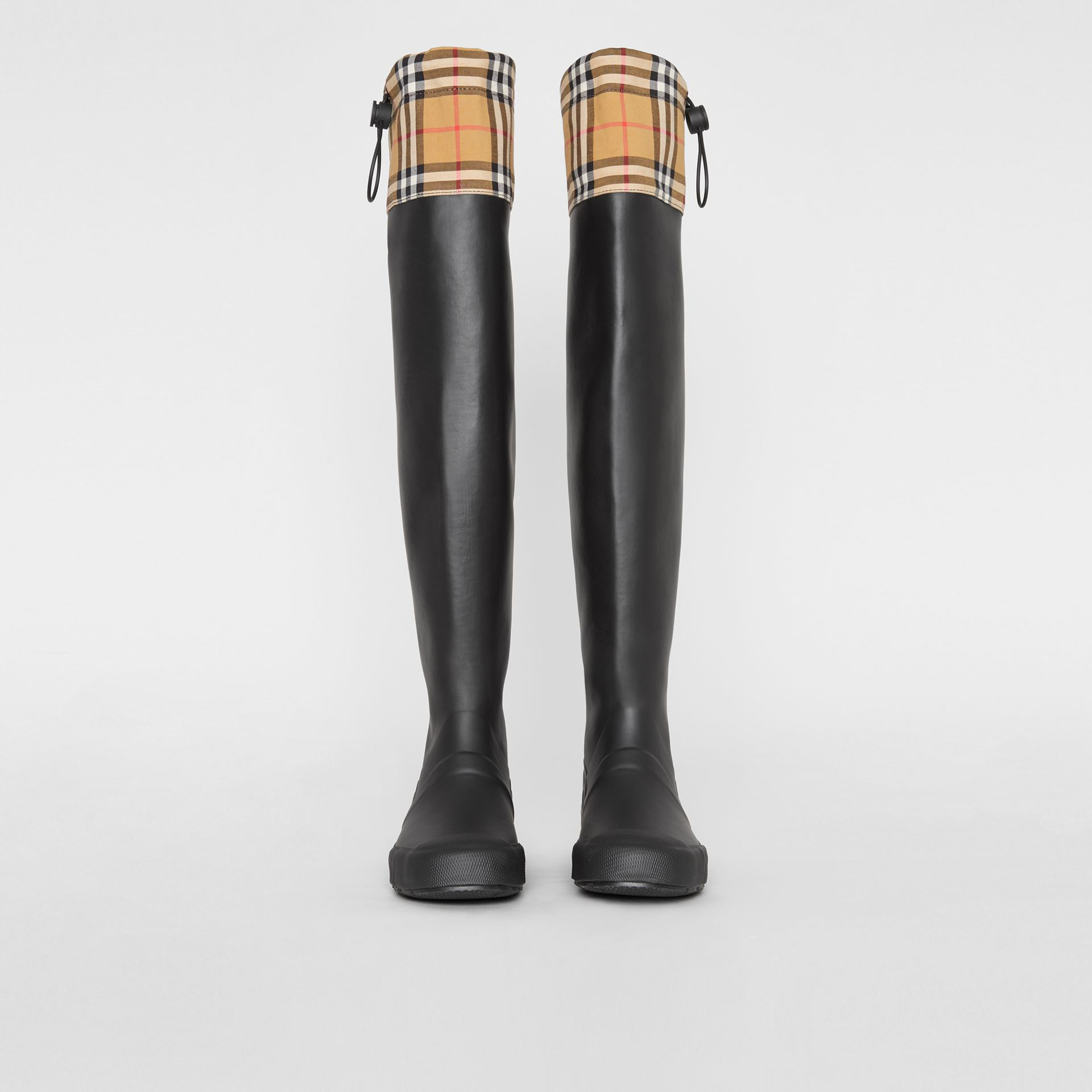 Vintage Check and Rubber Knee-high Rain Boots in Black - Women | Burberry United Kingdom - gallery image 3