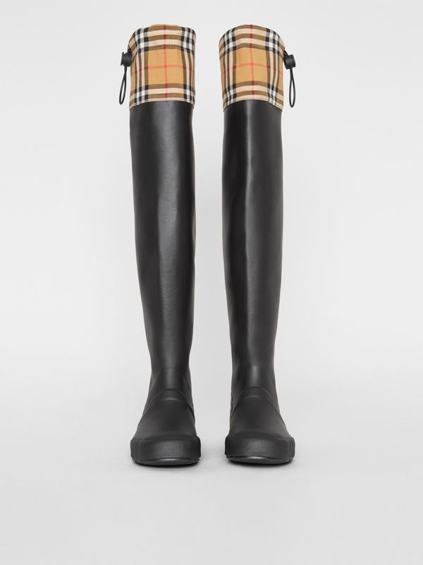 Vintage Check and Rubber Knee-high Rain Boots in Black - Women | Burberry Canada - cell image 3