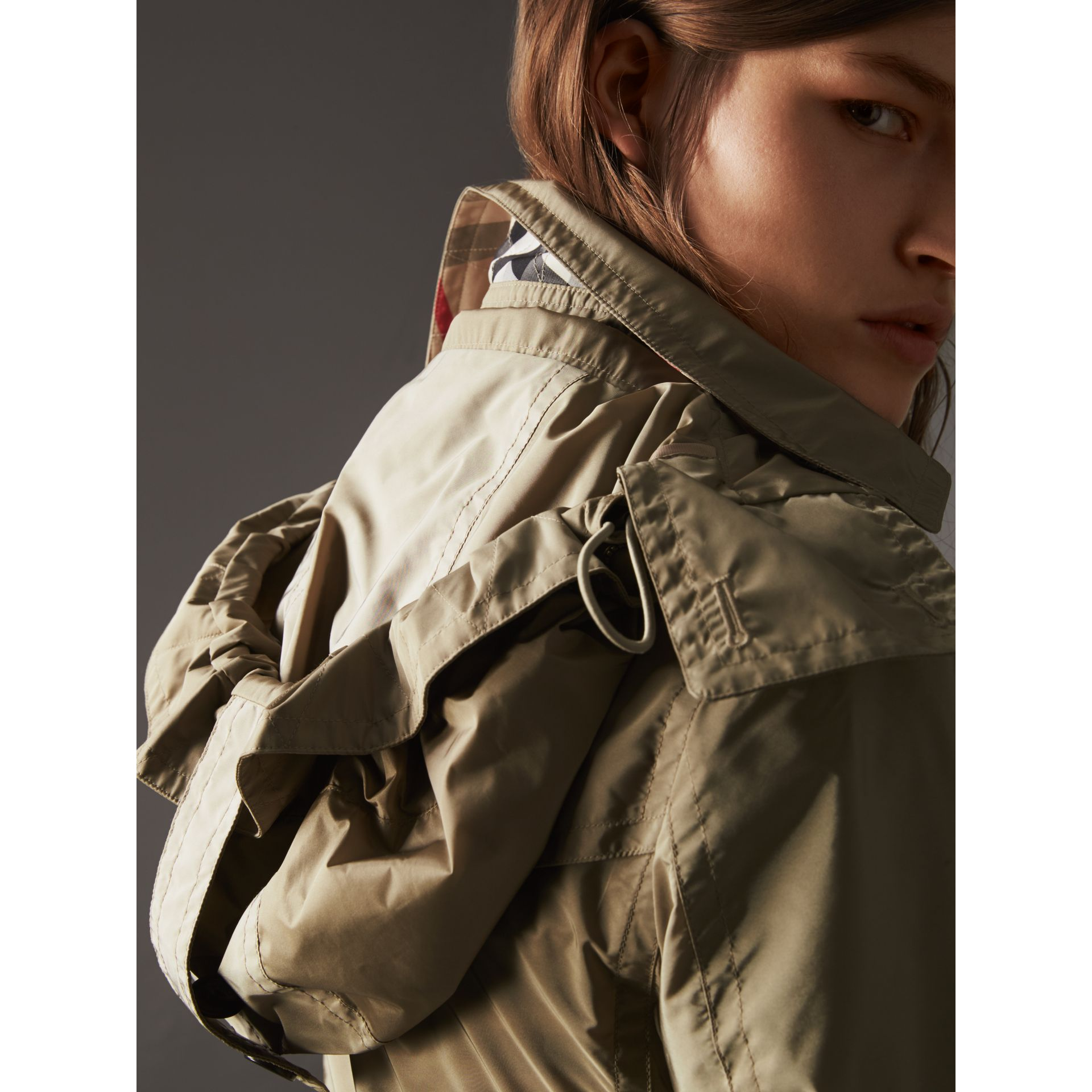 Taffeta Trench Coat with Detachable Hood in Sisal - Women | Burberry United Kingdom - gallery image 2