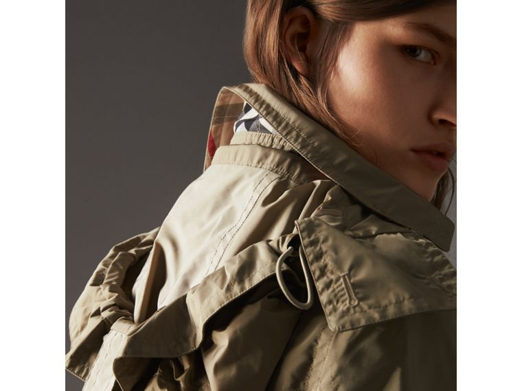 Taffeta Trench Coat with Detachable Hood in Sisal - Women | Burberry United Kingdom - cell image 1