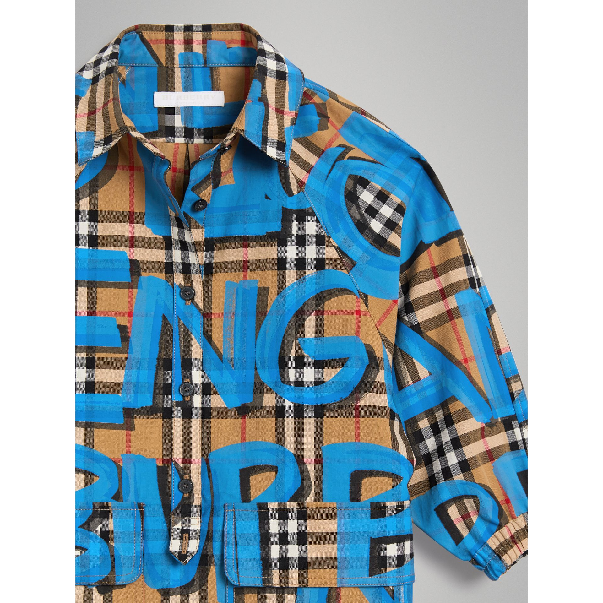 Graffiti Print Vintage Check Cotton Shirt Dress in Bright Blue - Girl | Burberry United States - gallery image 4