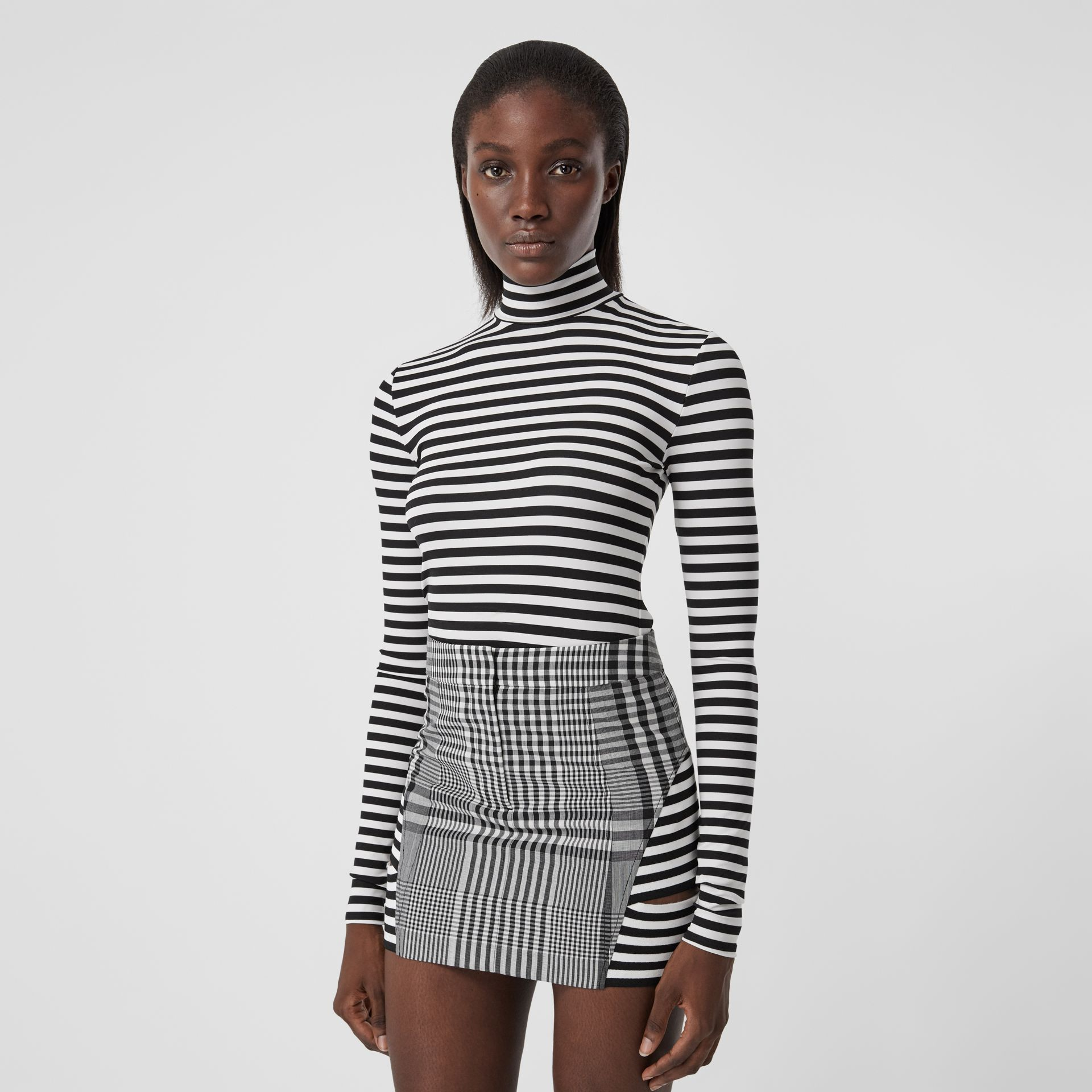 Stripe and Check Technical Wool Mini Skirt in Black - Women | Burberry - gallery image 4