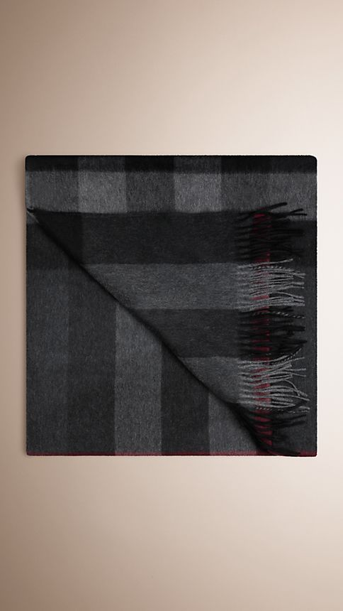 Charcoal check Check Cashmere Blanket Charcoal - Image 2
