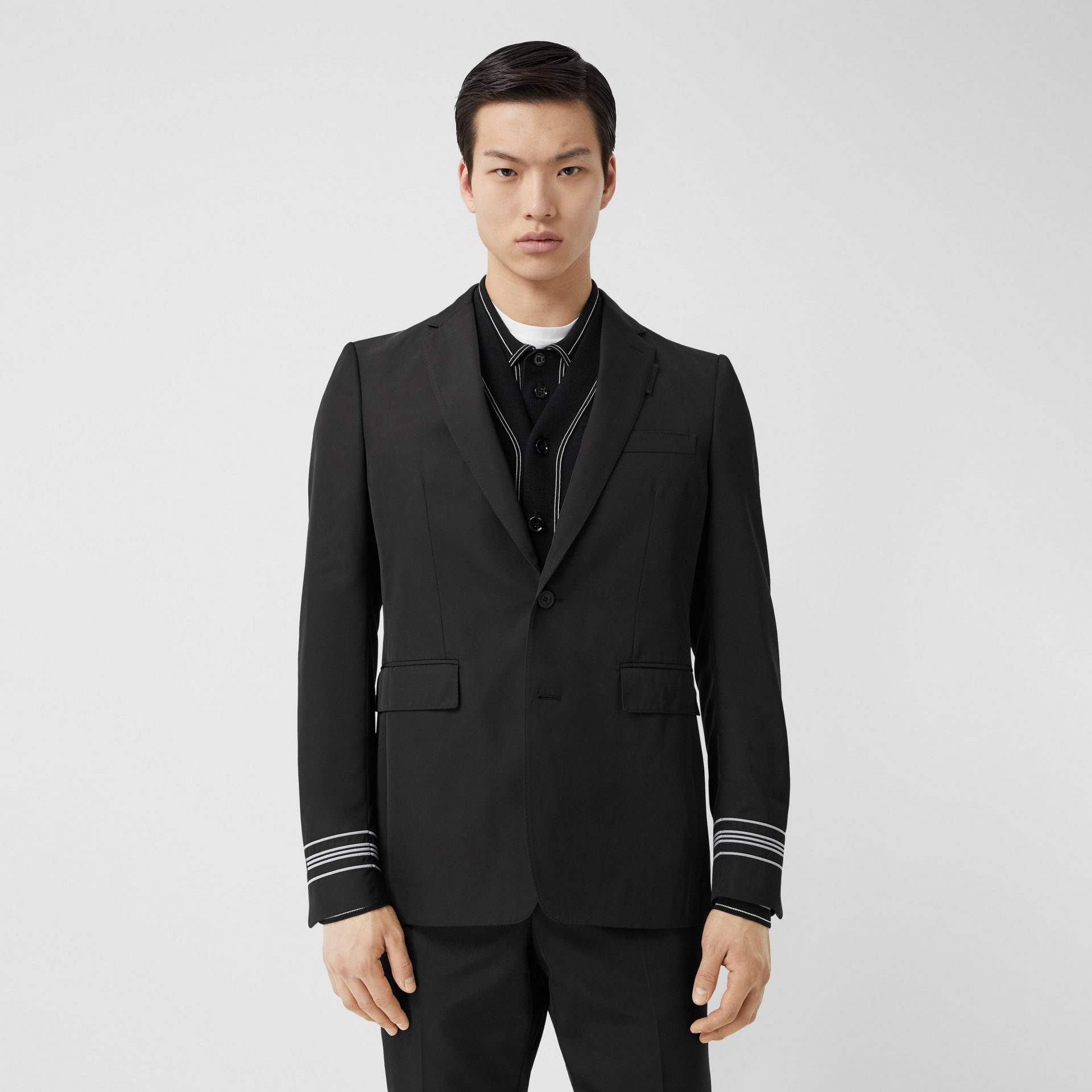 Classic Fit Stripe Detail Technical Twill Tailored Jacket in Black - Men | Burberry United Kingdom - gallery image 0