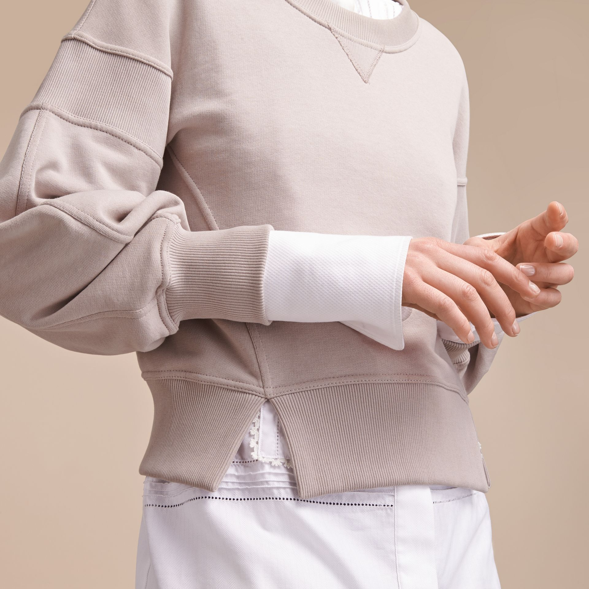 Puffed-sleeve Cotton Panelled Sweatshirt - gallery image 5