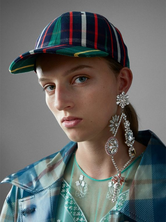 Check Baseball Cap in Forest Green | Burberry - cell image 2