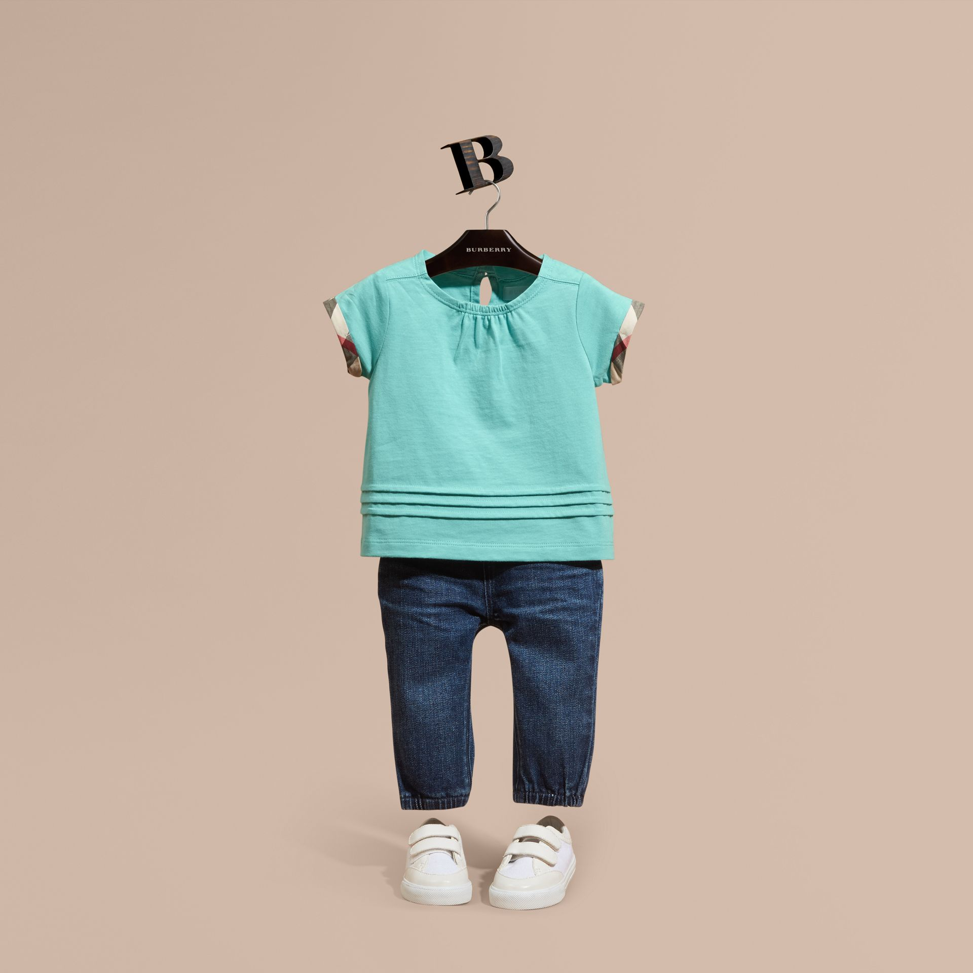Pleat and Check Detail Cotton T-shirt in Pale Turquoise - gallery image 1
