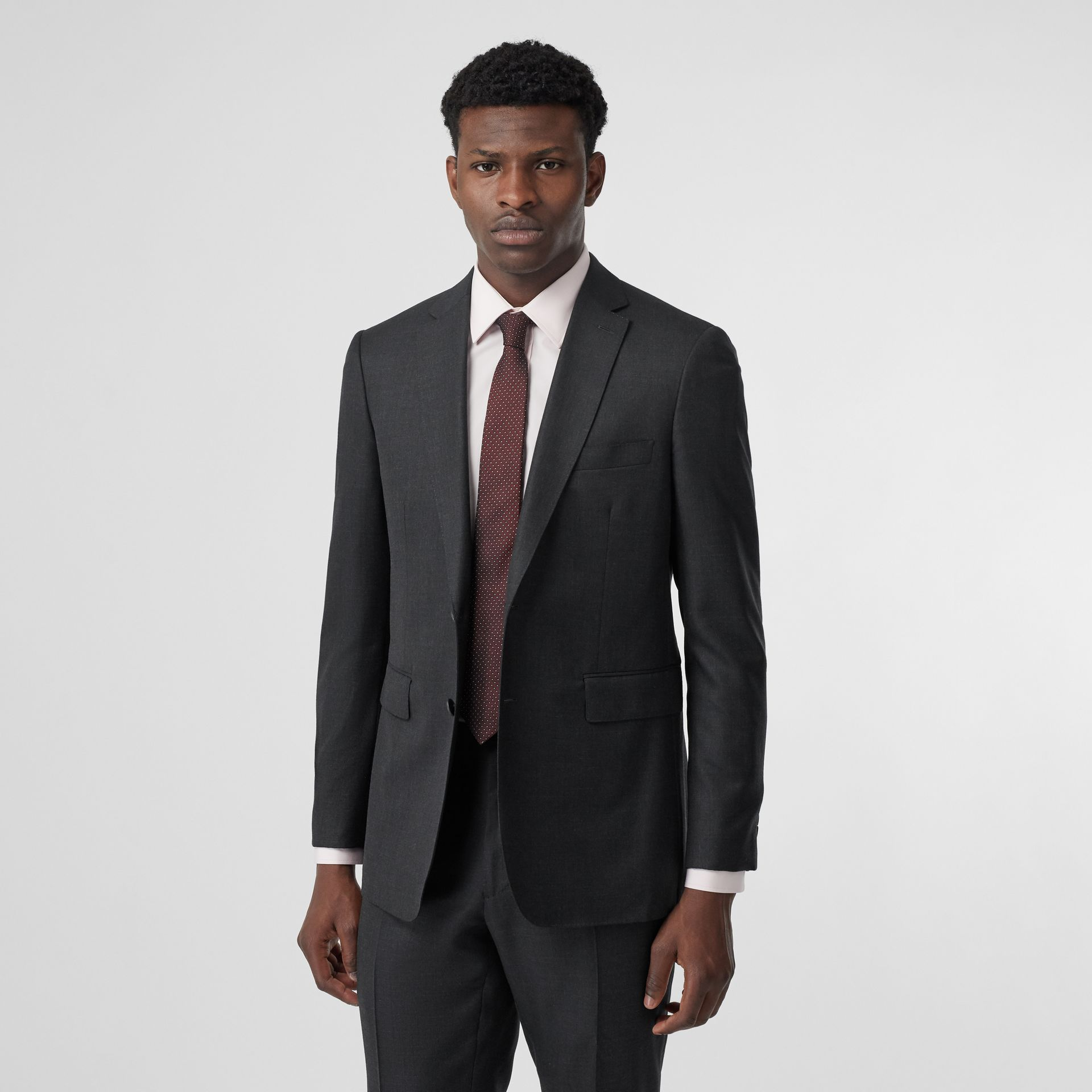 Slim Fit Wool Silk Linen Suit in Dark Grey Melange - Men | Burberry - gallery image 7