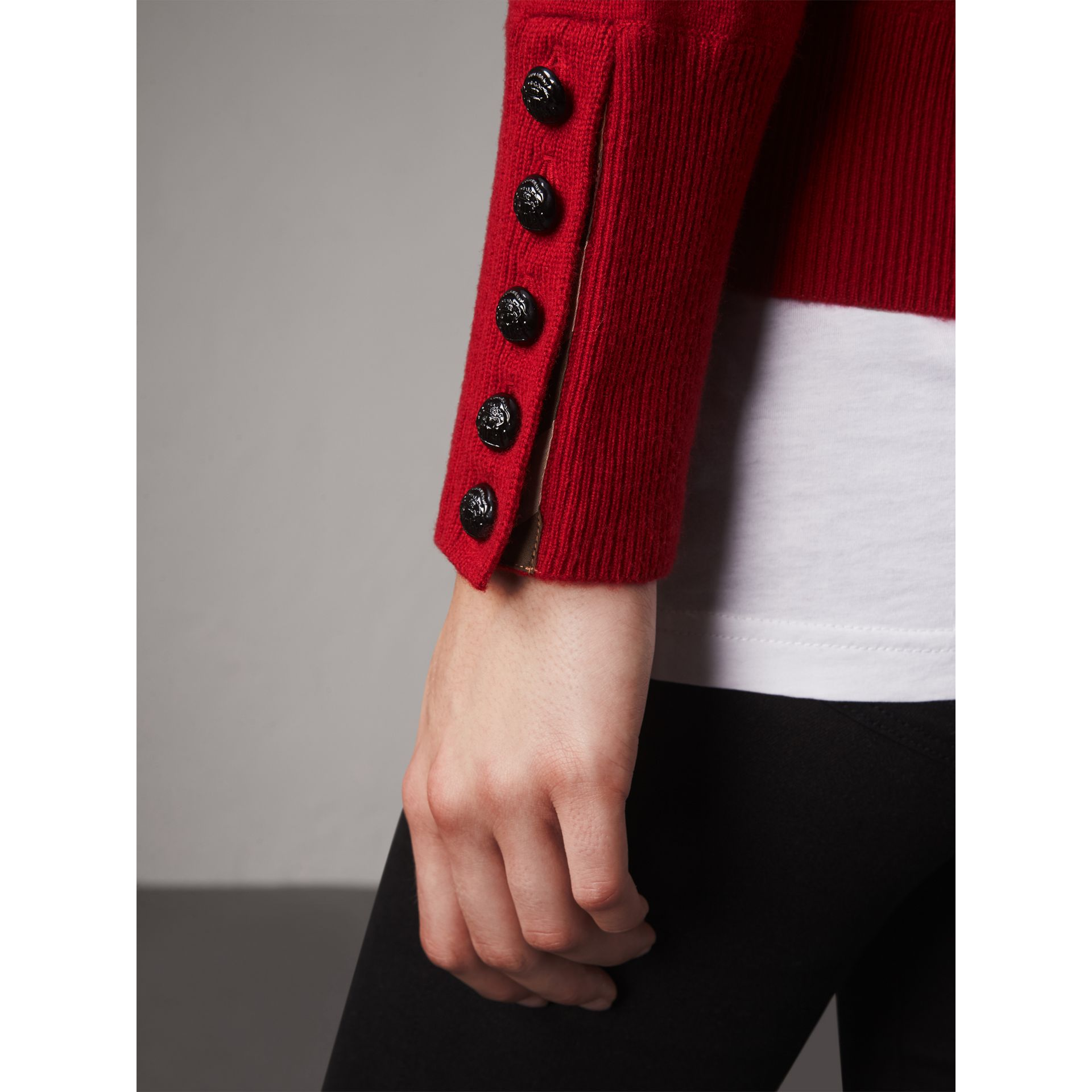 Cable Knit Yoke Cashmere Sweater in Military Red - Women | Burberry - gallery image 2