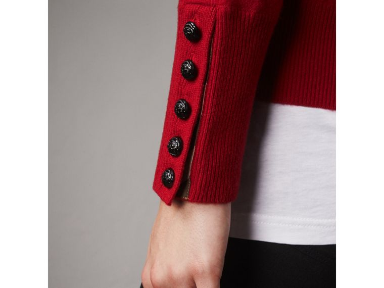 Cable Knit Yoke Cashmere Sweater in Military Red - Women | Burberry - cell image 1