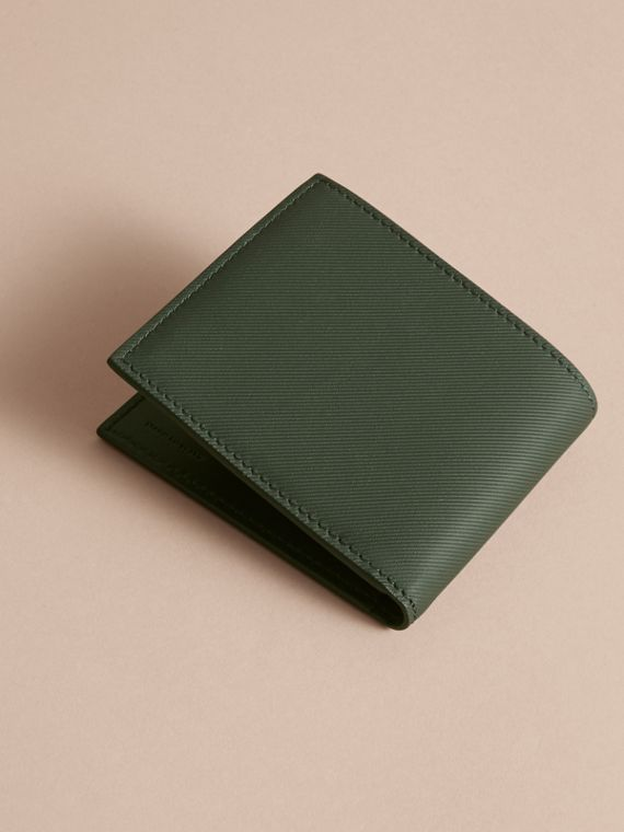 Trench Leather International Bifold Wallet in Dark Forest Green - Men | Burberry - cell image 3