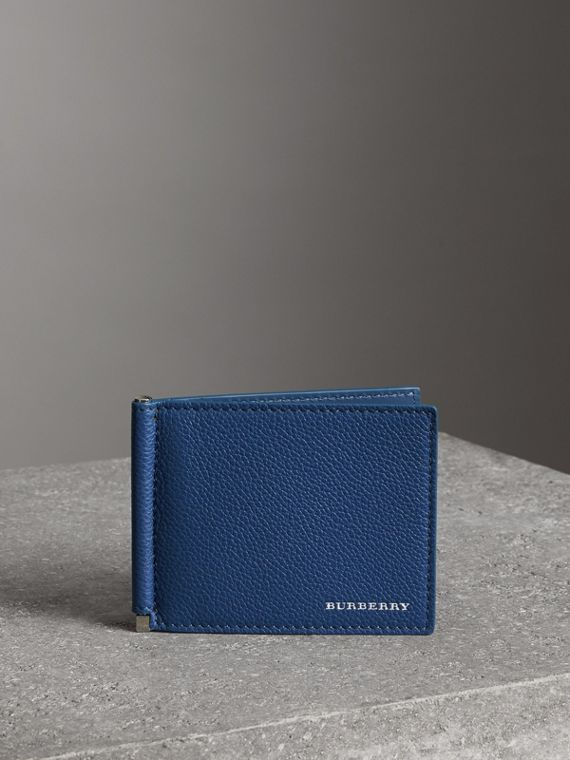 Grainy Leather Money Clip Card Wallet in Bright Ultramarine