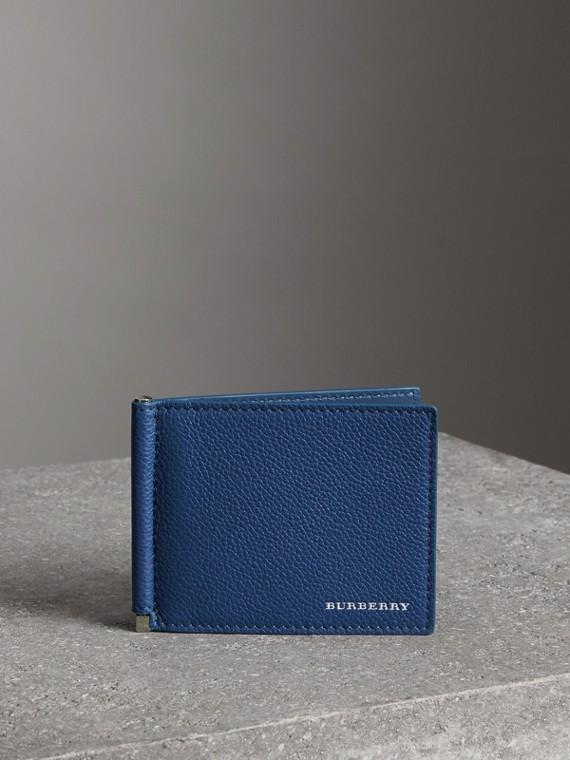 Brieftasche aus genarbtem Leder mit Kartenfächern und Geldscheinklammer (Leuchtendes Ultramarinblau)