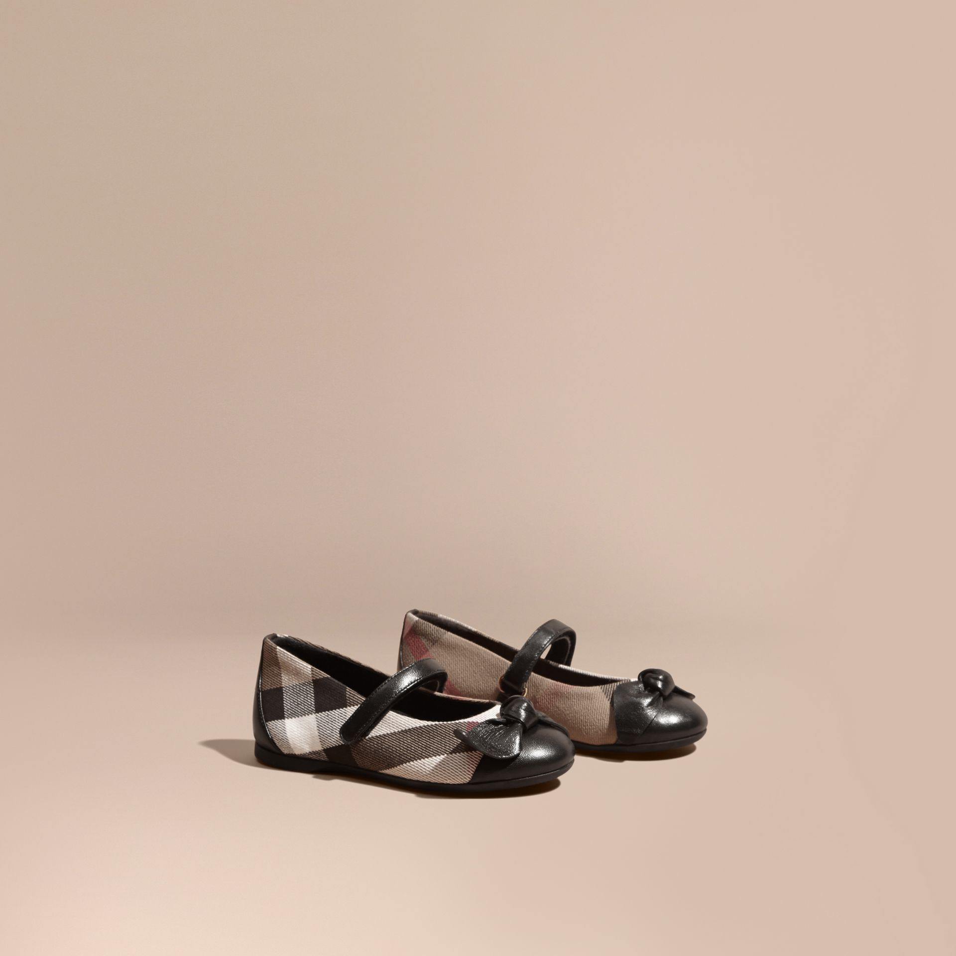 Leather and House Check Ballerinas in Black | Burberry - gallery image 1