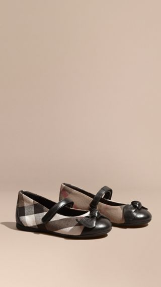 Leather and House Check Ballerinas