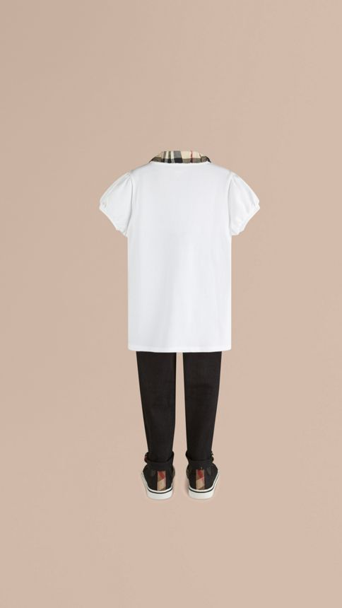 White Check Collar Polo Shirt - Image 3