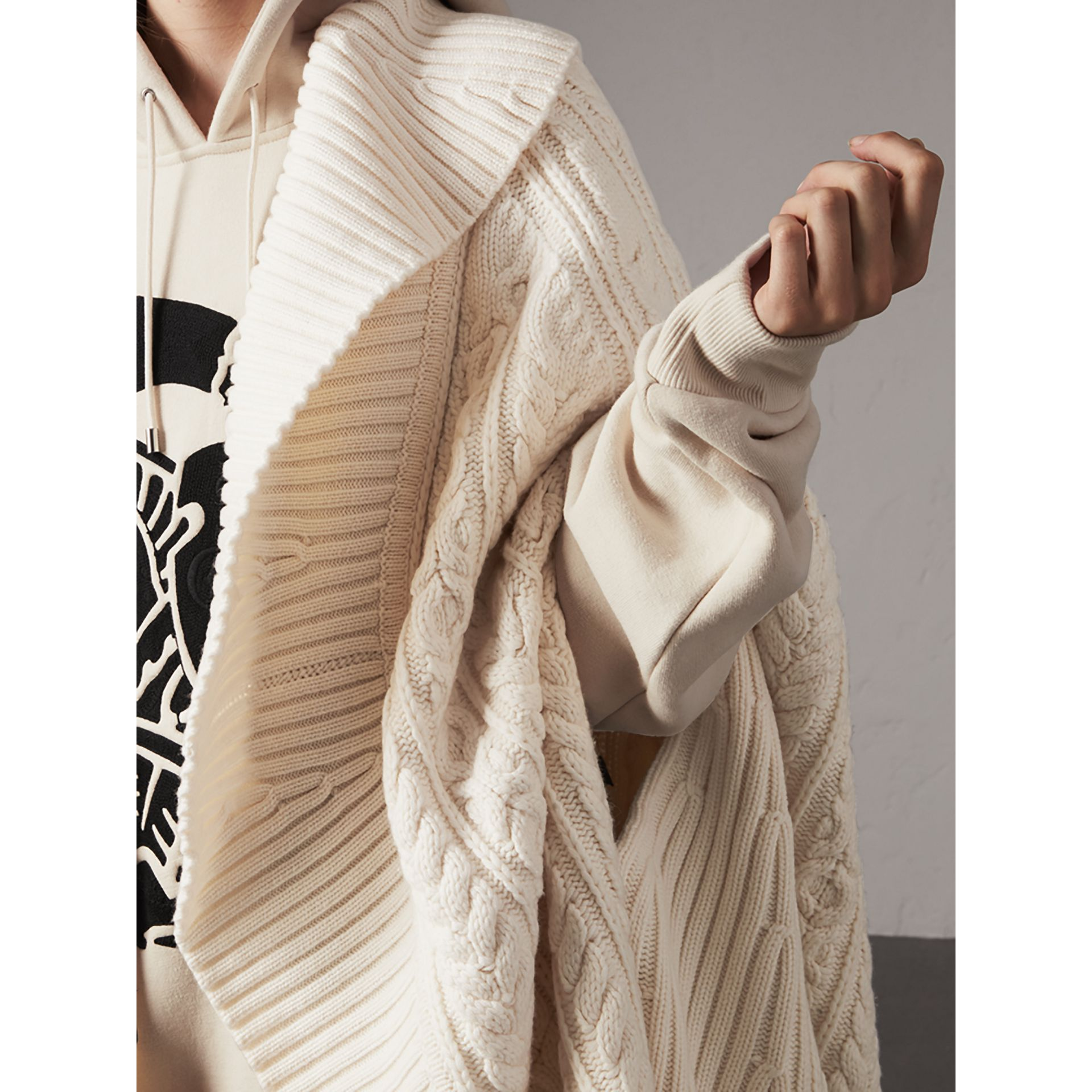 Cable Knit Wool Cashmere Poncho in Natural White - Women | Burberry - gallery image 5