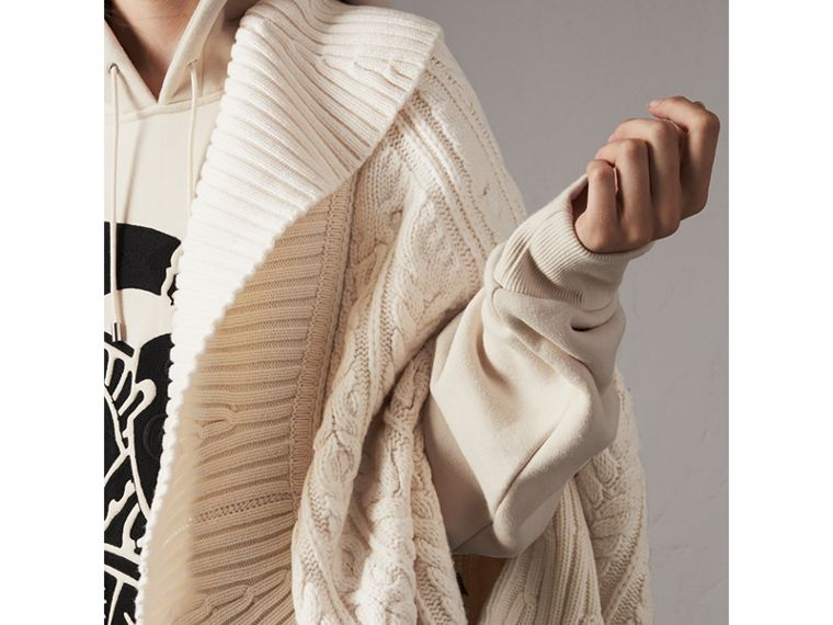 Cable Knit Wool Cashmere Poncho in Natural White - Women | Burberry - cell image 4