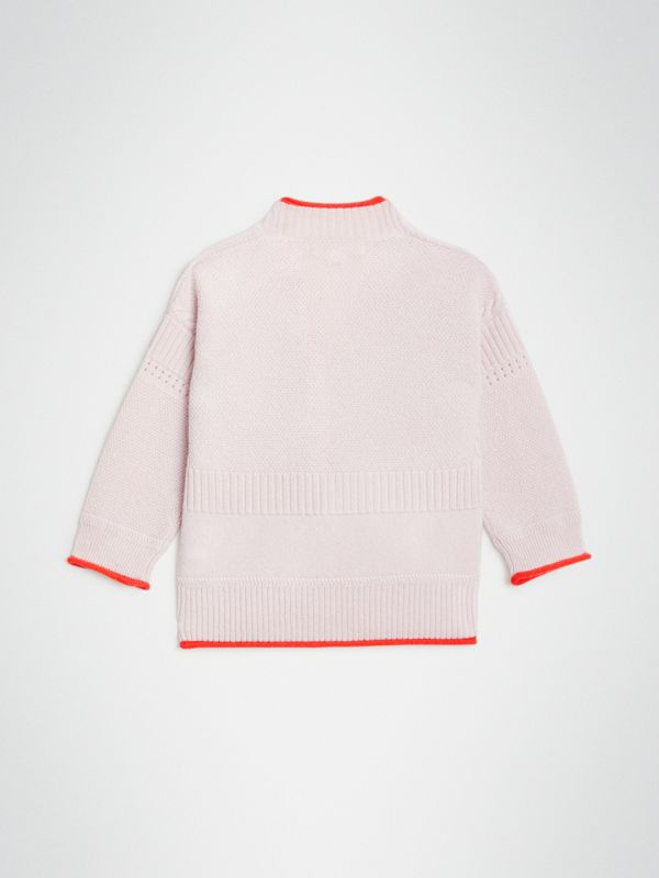 Contrast Knit Wool Cashmere Cardigan in Pale Lilac - Children | Burberry United Kingdom - cell image 3