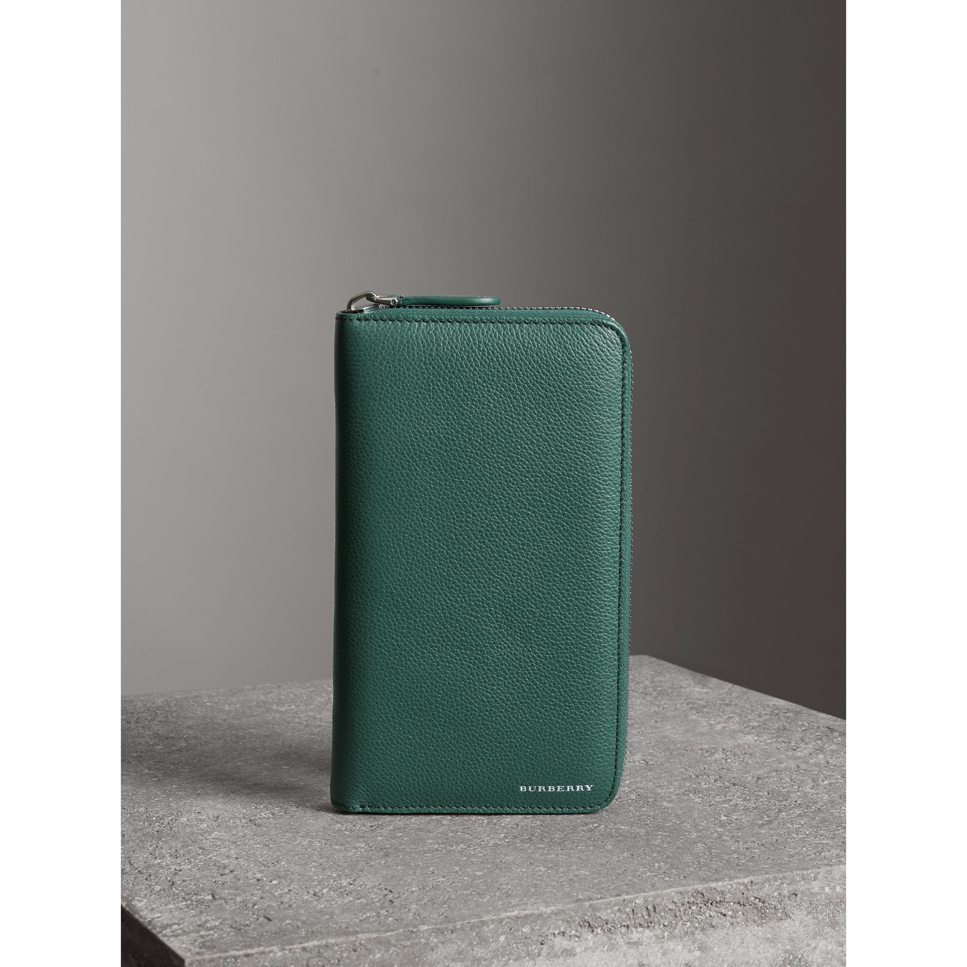 Grainy Leather Ziparound Wallet in Dark Cyan - Men | Burberry - gallery image 4