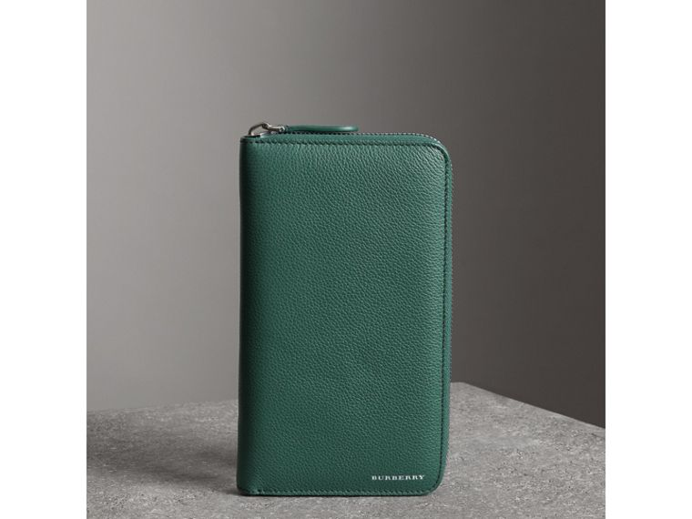Grainy Leather Ziparound Wallet in Dark Cyan - Men | Burberry United States - cell image 4