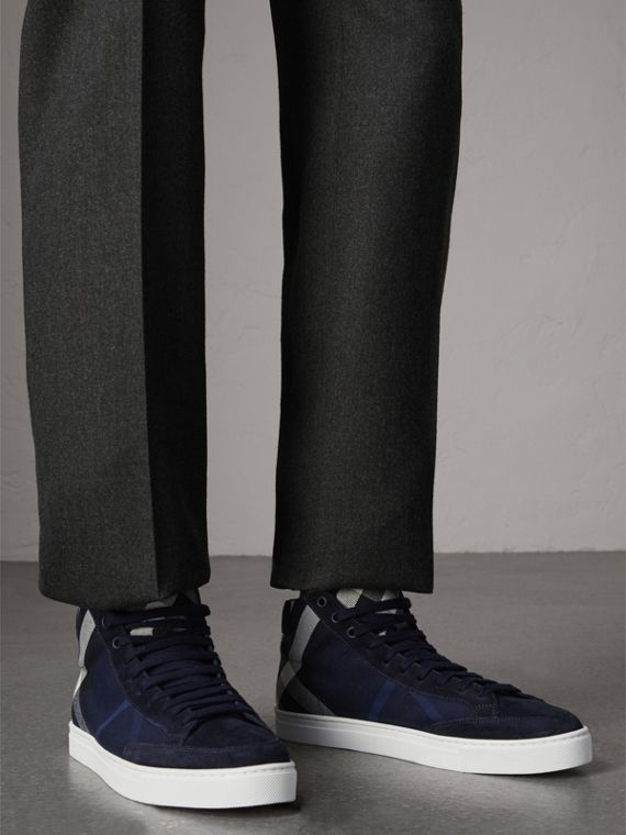 House Check Cotton and Calf Suede High-top Trainers in Navy - Men | Burberry - cell image 2