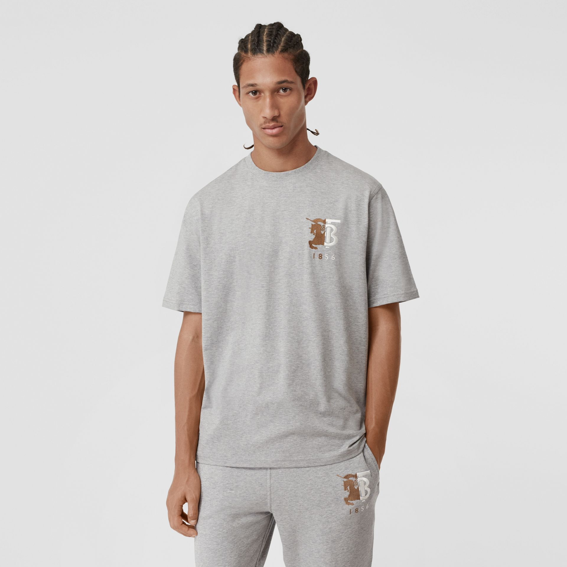 Contrast Logo Graphic Cotton T-shirt in Pale Grey Melange - Men | Burberry - gallery image 5