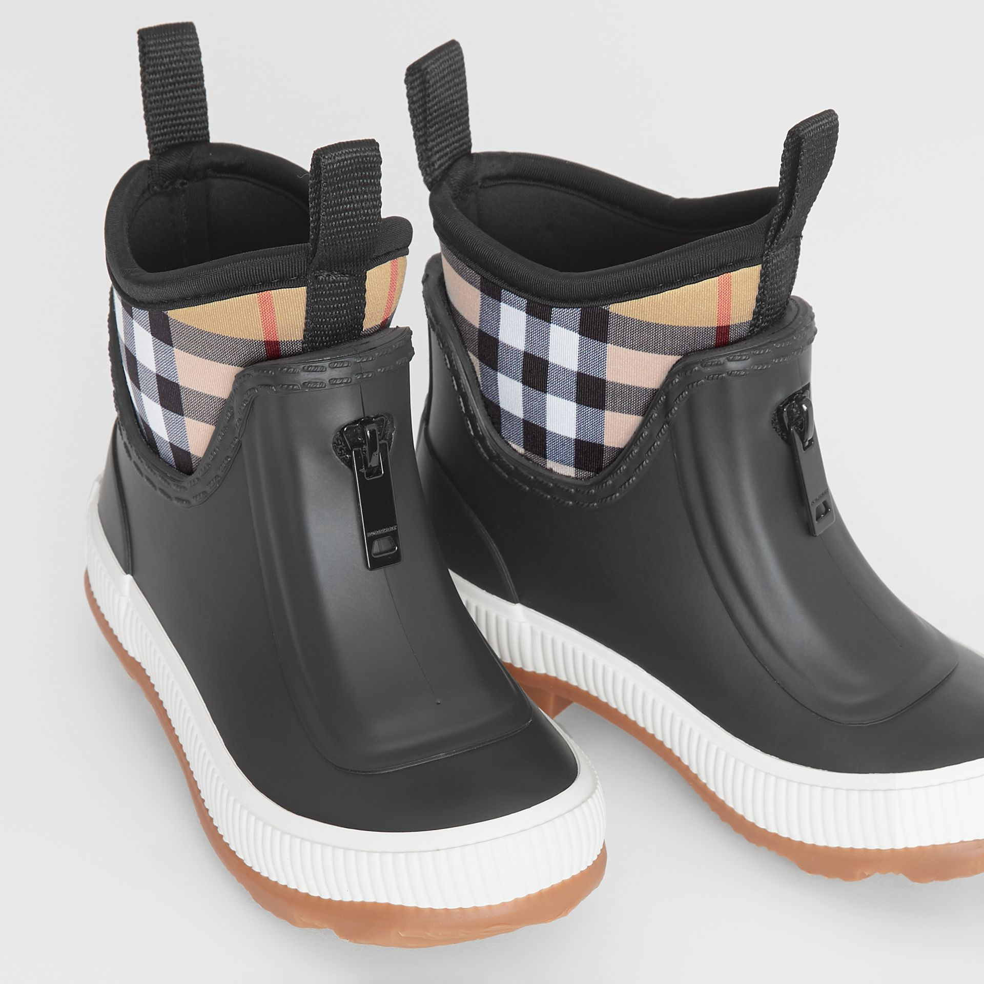 Vintage Check Neoprene and Rubber Rain Boots in Black - Children | Burberry Australia - gallery image 1