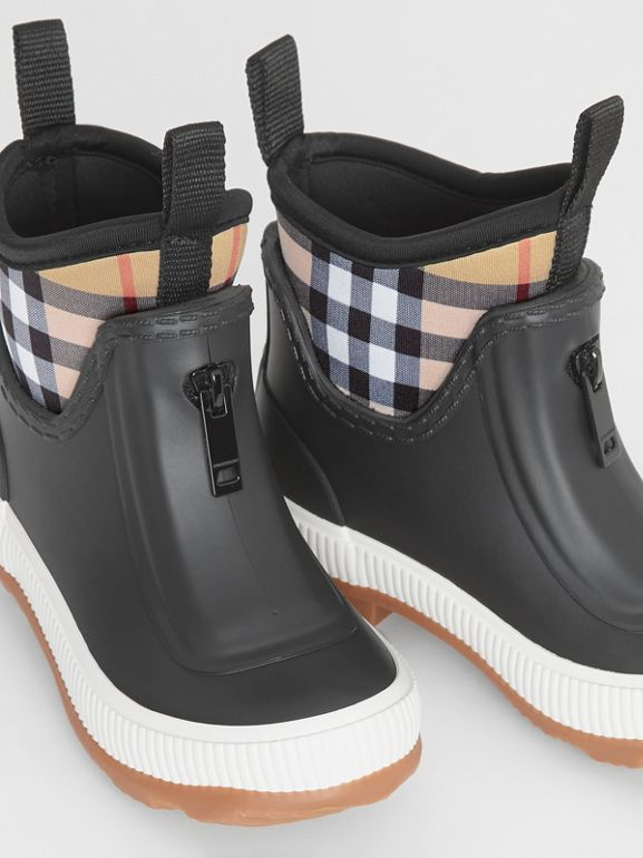 Vintage Check Neoprene and Rubber Rain Boots in Black - Children | Burberry - cell image 1