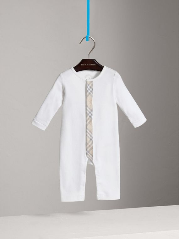 Check Trim Cotton Jumpsuit in White - Girl | Burberry Singapore - cell image 2