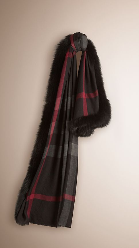 Black check Fur Trim Cashmere Check Scarf - Image 1