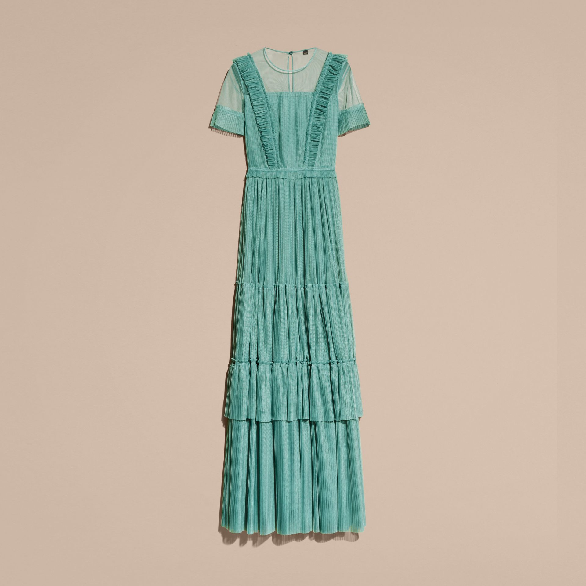 Aqua green Ruffle Detail Floor-length Dress - gallery image 4