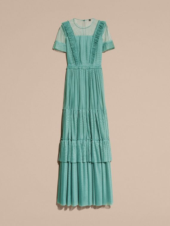 Aqua green Ruffle Detail Floor-length Dress - cell image 3