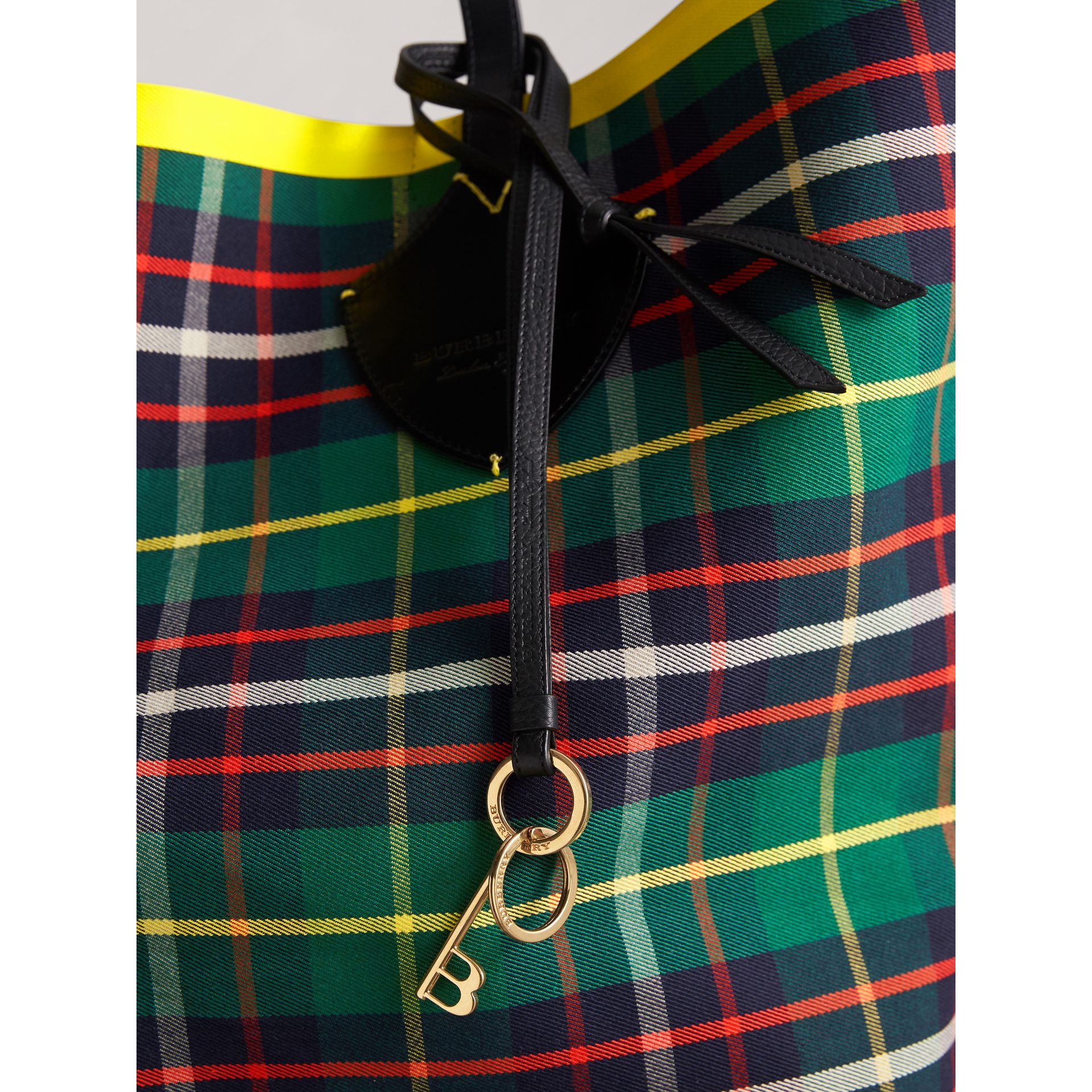 Burberry Motif Metal and Leather Strap Key Charm in Black - Women | Burberry - gallery image 3