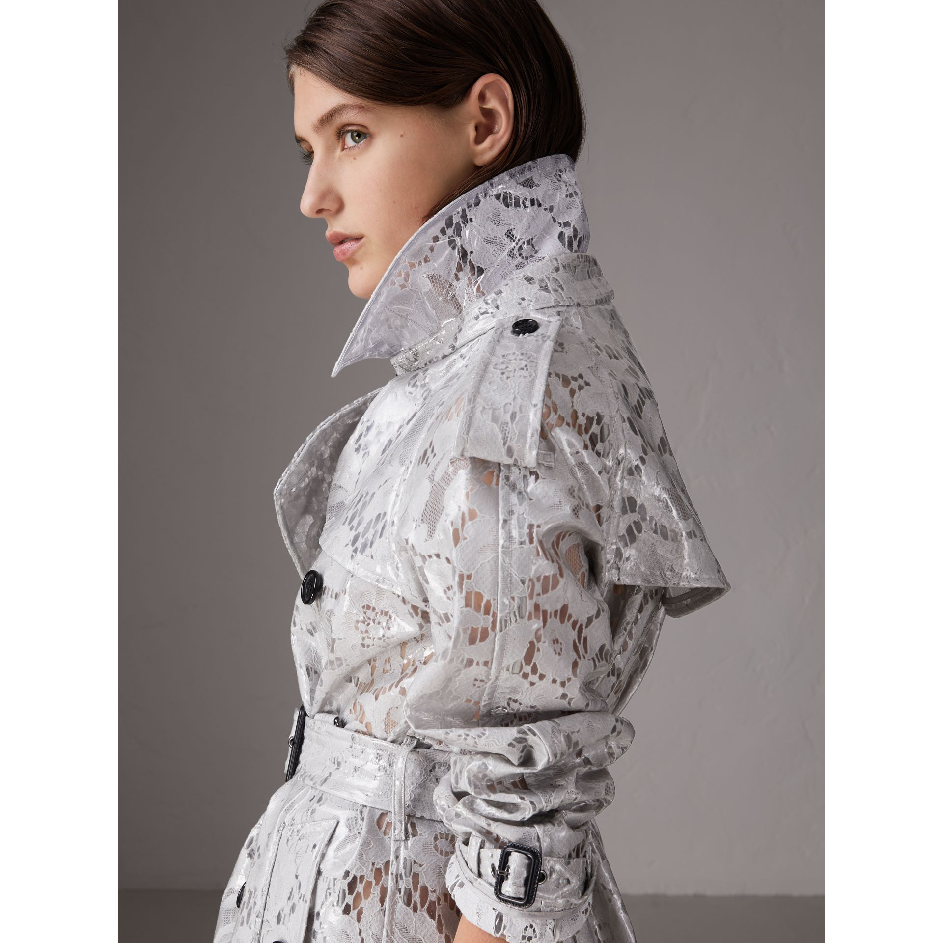 Laminated Lace Trench Coat in Pale Grey - Women | Burberry - gallery image 4