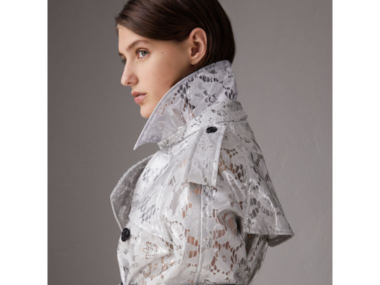 Laminated Lace Trench Coat in Pale Grey - Women | Burberry United Kingdom - cell image 4