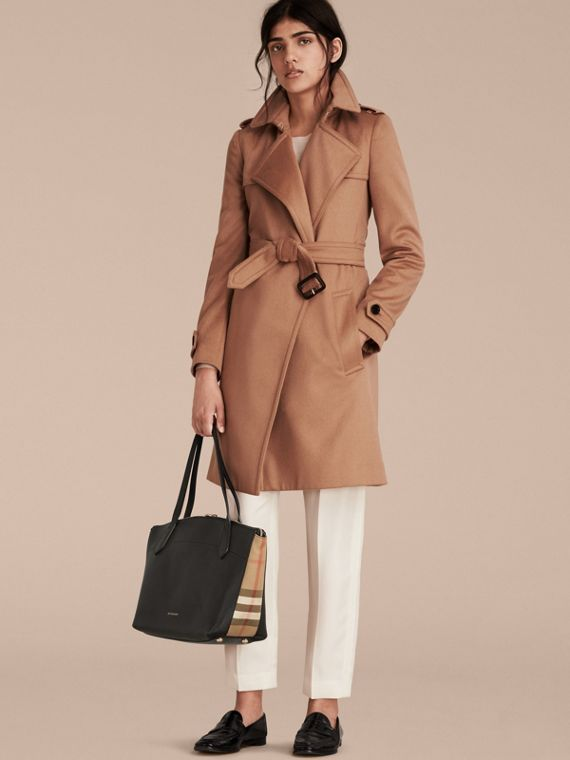 Medium Leather and House Check Tote Bag - Women | Burberry - cell image 2