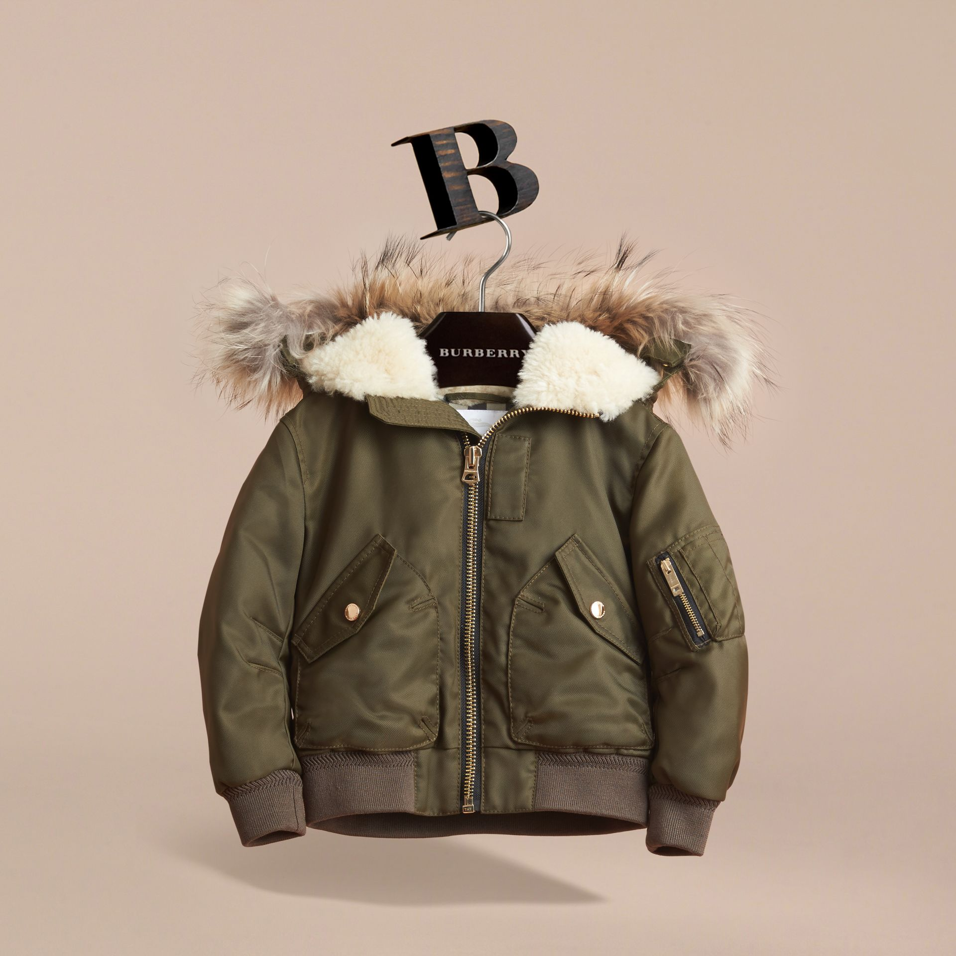 Detachable Raccoon Fur Trim Hood Bomber Jacket in Caper Green - Boy | Burberry - gallery image 3