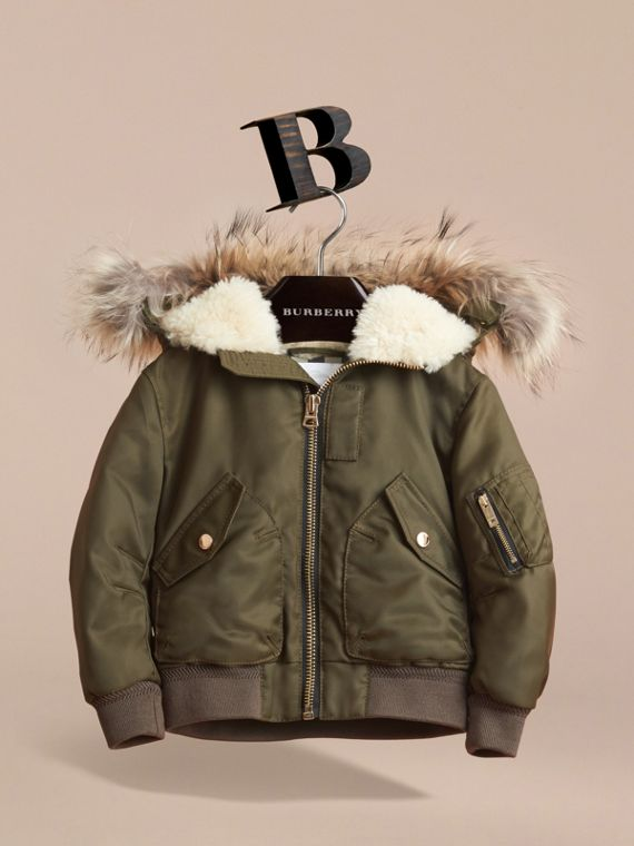 Detachable Raccoon Fur Trim Hood Bomber Jacket in Caper Green - Boy | Burberry - cell image 2
