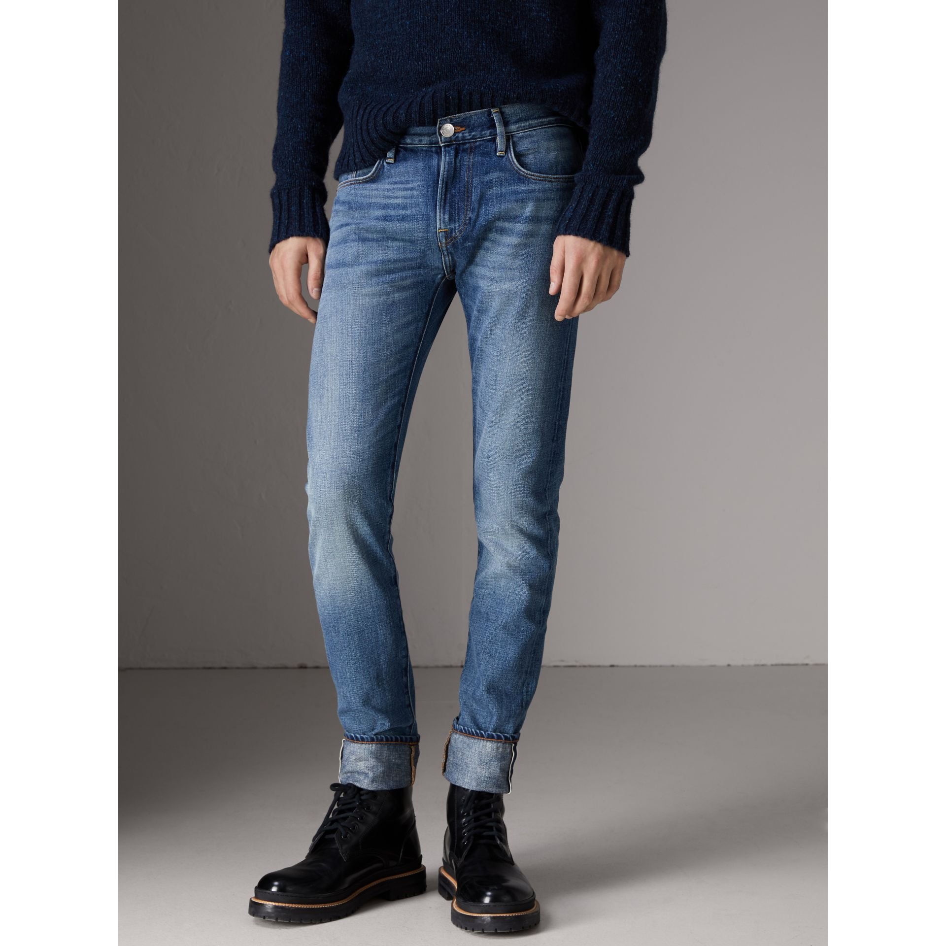 Slim Fit Washed Japanese Selvedge Denim Jeans in Light Indigo - Men | Burberry United Kingdom - gallery image 5