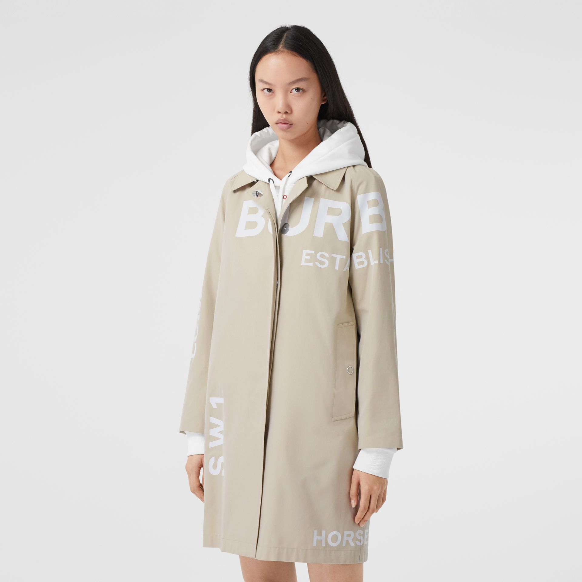 Horseferry Print Cotton Gabardine Car Coat in Stone - Women | Burberry - gallery image 6