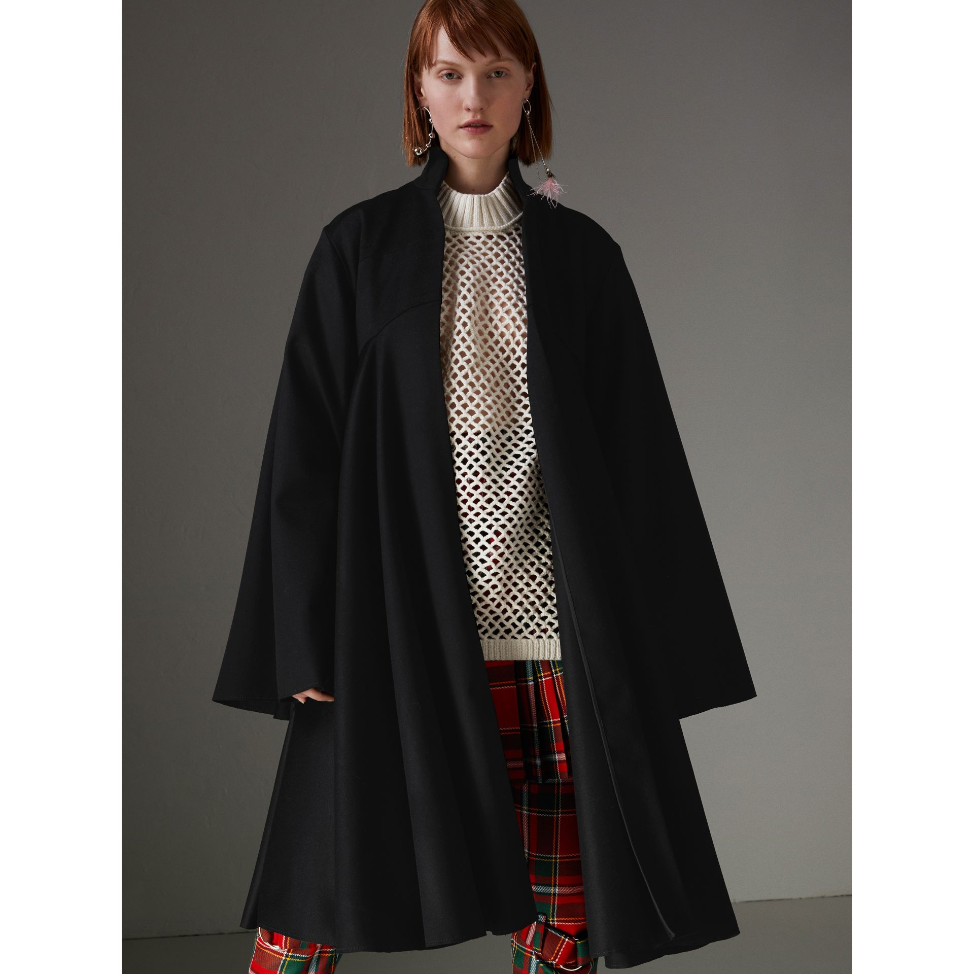 Tailored Doeskin Wool Cape in Black - Women | Burberry Canada - gallery image 4
