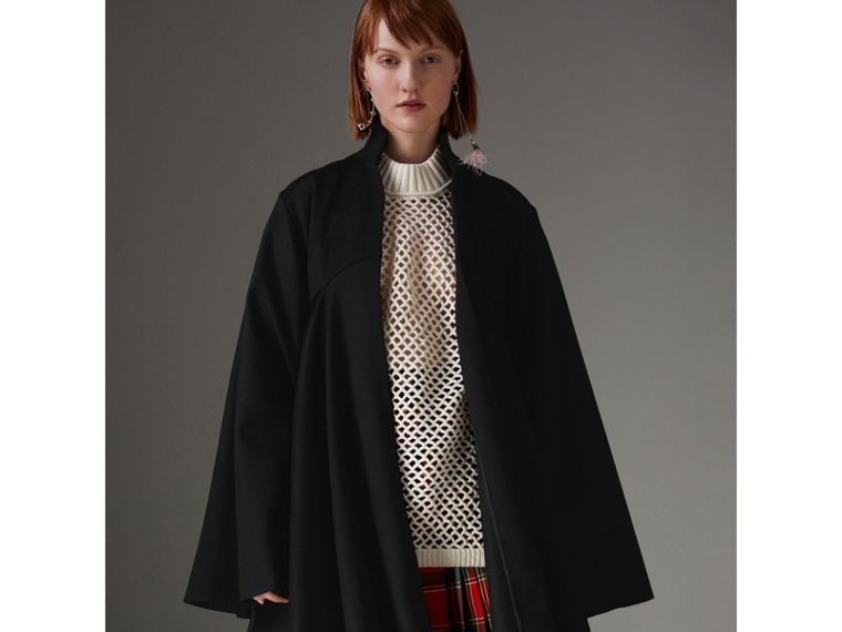 Tailored Doeskin Wool Cape in Black - Women | Burberry - cell image 4
